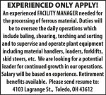 FACILITY MANAGER NEEDED